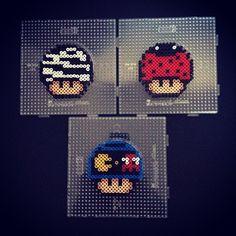 Nintendo mushrooms (zebra, ladybug and Pacman) perler beads by sajagee by arlene Hama Mario, Perler Beads Mario, Melty Bead Patterns, Hama Beads Patterns, Beading Patterns, Pixel Art, Hama Beads Disney, Pearl Beads Pattern, Beading For Kids