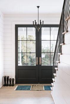 Wood Front Doors, Front Door Entrance, House Front Door, House Doors, Double Doors Exterior, Double Entry Doors, Double Window, Wood French Doors Exterior, French Doors Patio
