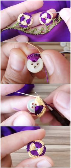 Crochet Easy Beautiful Buttons – Knitting patterns, knitting designs, knitting for beginners. Crochet Simple, Free Crochet, Knit Crochet, Knitting Patterns, Sewing Patterns, Crochet Patterns, Crochet Ideas, Crochet Buttons, Crochet Stitches