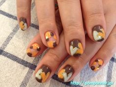Brown-based Daphany Orange & Ivory FallLove is N The Air Nail Art..