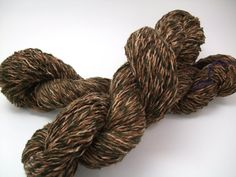 Recycled yarn  brown linen blend worsted weight by craftyyarn, $5.00