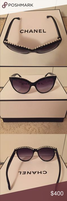 Chanel Sunglasses Chanel cat eye pearl sunglasses. Comes with Chanel hard sunglass case and Chanel cleaning cloth. Chanel Accessories Sunglasses