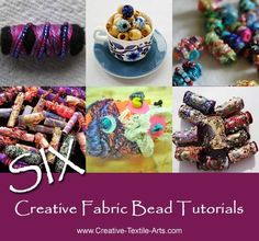 Fabric beads make fabulous embellishments for all your fabric projects and are quick easy and fun to make. So how many ways are there to make fabric beads Fiber Art Jewelry, Paper Jewelry, Textile Jewelry, Fabric Jewelry, Jewellery, Fabric Beads, Paper Beads, Fabric Scraps, Fabric Art