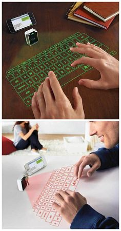 Virtual keyboard Online Deals This keyboard works for everything from your computer to your smartphone. It's easy to install and even produces artificial clicking noises to help you type. Gadgets For Dad, Cool New Gadgets, Spy Gadgets, High Tech Gadgets, Phone Gadgets, Gadgets And Gizmos, Electronics Gadgets, Camping Gadgets, Travel Gadgets
