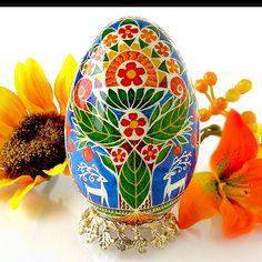 "Beautiful Pysanka Easter Egg ""Tree Of Life"" by Ukrainian Treasures. Nice photo!  Pysanky"