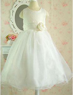 e9840837181   49.99  A-Line Knee Length Flower Girl Dress - Cotton   Tulle Sleeveless  Jewel Neck with Bow(s)   Sash   Ribbon   Flower by 21KIDS