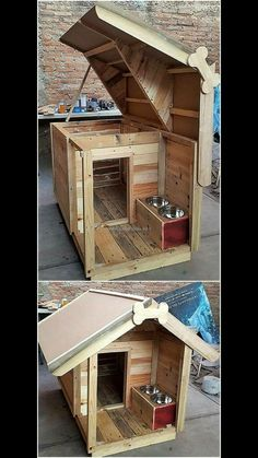 How To Build A Pallet Dog House This creative pallet dog house and feed shelter is what i call AMAZING!… How To Build A Pallet Dog House This creative pallet dog house and feed shelter is what i call AMAZING! Pallet Dog House, Build A Dog House, Dog House Plans, House Dog, Double Dog House, Pallet Dog Beds, Small Dog House, Tiny Dog, Fun House