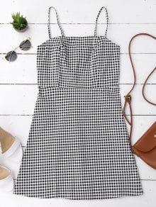 Back Zipper Checked Slip Mini Dress CHECKED: Mini Dresses S | ZAFUL