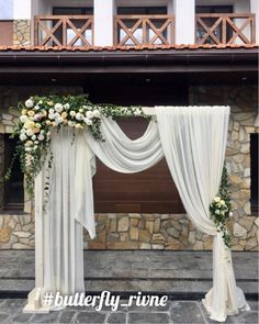 Wedding Arch Idea for a Rustic Wedding. What a beautiful wedding arch decoration. - Life with Alyda Wedding Arbors, Wedding Arch Flowers, Wedding Ceremony Decorations, Wedding Venues, Butterfly Wedding, Wedding Reception, Wedding Dress, Deco Champetre, Rustic Wedding