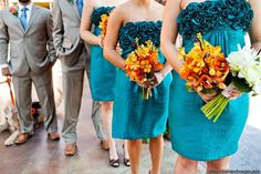 Orange bouquets with teal blue bridesmaid dresses, love the color contrast - #blue and #orange #wedding