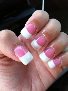 Medium pink and white french acrylics