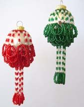 Ruffled Beaded Christmas Ornament Cover Pattern by Carlene Cooley-Brown at Bead-Patterns.com