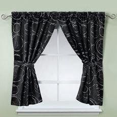 Eclipse Black Bathroom Window Curtain Pair