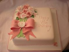 a 90th birthday cake, requested in pink, did pink and white roses and didnt look right for a 90th so remade in a muted vintage pink and think it has turned out lovely x