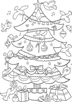 Fun Christmas Tree coloring pages for your little one. They are free and easy to print. The collection is varied with different skill levels Noel Christmas, Christmas Colors, Christmas Tree Decorations, Christmas Crafts, Xmas Tree, Coloring Book Pages, Printable Coloring Pages, Coloring Sheets, Christmas Activities