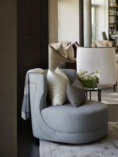 Informal Reception, Penthouse, St John's Wood - Morpheus London - Dream Homes Sofa Furniture, Sofa Chair, Furniture Design, Swivel Chair, Living Tv, Architecture Restaurant, Single Chair, Design Studio, Luxury Interior