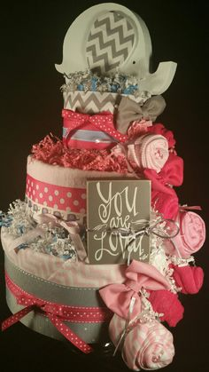 3 Tier Pink & Grey DIAPER CAKE w/ cute creme by TiersofJoybyUs