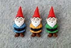 3 Fairy Garden Gnomes - Miniature Fairy Garden Accessories or Woodland Scrapbook Supplies