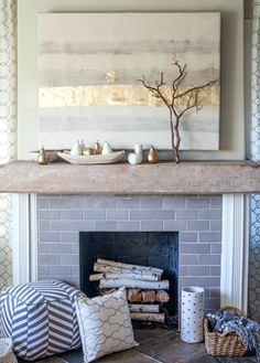 Decorate your mantel for the fall with modern neutrals.