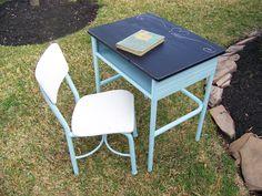 Vintage school desk refurb with chalkboard paint :)