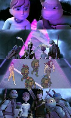 Pics of one of the new episodes of tmnt with the 80s turtles!   It's us! .................why do we look like dorks