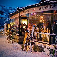 The post-powder party heats up at these lively bars in ski towns from Aspen to the Andes.
