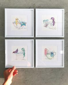 Mermaid Bubble Bath Art Prints Set of Mermaid Sign, Mermaid Gifts, Baby Mermaid, Mermaid Art, Mermaid Kids Rooms, Mermaid Nursery, Happy Winter Solstice, Bath Art, Mermaid Drawings