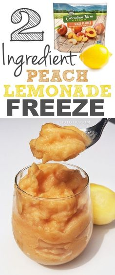 Healthy 2-Ingredient, Super Easy Peach Lemonade Freeze (like soft serve!) Dairy free, sugar free, clean eating dessert.   A yummy summer treat for adults and kids!