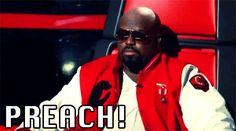 "The Voice quotes: ""Preach!"" - CeeLo Green #StuffCoachesSay #TheVoice"