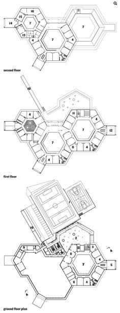 Floor plans of Lomas del Pey School in Cartagena, Colombia, by Giancarlo Mazzanti Education Architecture, School Architecture, Architecture Plan, Plan Hotel, Hotel Floor Plan, School Floor Plan, School Plan, Modern House Floor Plans, Bedroom Floor Plans