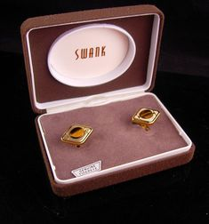 Swank Tiger Eye Cufflinks Vintage original box tuxedo set