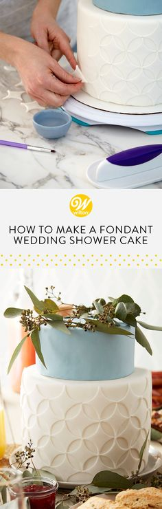 Learn how to make an elegant and beautiful fondant wedding shower cake that is sure to impress the bride-to-be! This is a fun project for beginner decorators and so easy to customize to fit your bride's style! #brunch #brunchideas #brunchrecipe #brunchparty #brunchmenu #bruncheasy #weddingbrunch #brunchwedding #brunchweddingshower #brunchweddingreception #brunchrecipesforacrowd #brunchtable #brunchtablescape #brunchandbubbly #brunchandbubblybridalshowerideas #brunchfood…