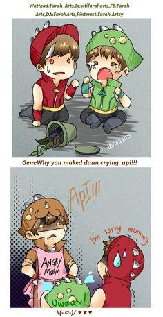 Gem:Why you maked daun crying,api! Boboiboy Anime, Doraemon Wallpapers, Boboiboy Galaxy, Pokemon Comics, Asuna, Kokoro, Yandere, In This World, Geek Stuff