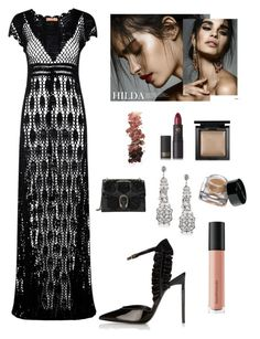 """Formal Evening Look"" by kotnourka ❤ liked on Polyvore featuring Meskita, Yves Saint Laurent, Azaara, Gucci, Bare Escentuals, Bobbi Brown Cosmetics, L.A. Girl and Lipstick Queen"