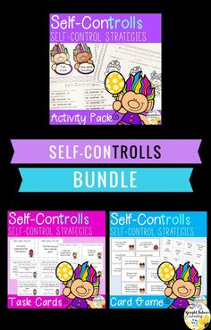 Teach students self-control strategies with these task cards, activity pack, and social skills card game. This self-control bundle includes over 60 pages of self-control resources. It can be used in elementary school counseling groups and individual sessi Elementary School Counselor, School Counseling, Elementary Schools, Social Emotional Learning, Social Skills, Social Work, Impulse Control, Bullying Prevention, Self Control