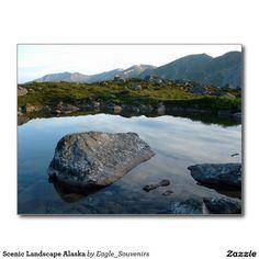 Scenic Landscape Alaska Postcard  #scenic, #landscape, #alaska, #mountains, #lake, #reflection, #nature, #sky, #scenery, #usa, #america #postcard