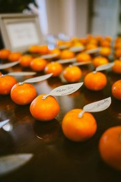 Mandarin orange escort cards - California Wedding from Sargeant Photography + All You Need Is Love Events