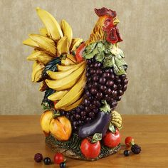 Fruitful Harvest Rooster Sculpture, Touch of Class