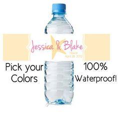 50 custom waterproof water bottle labels - wedding favors (design13) starfish beach personalized. $35.00, via Etsy.