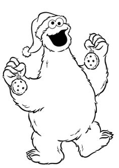 Cookie Monster Christmas Coloring Pages