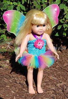 4Piece Pastel Rainbow Butterfly Outfit for 18 by KenziesTreasures, $15.00