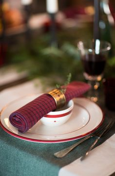 Checked Holiday Napkin - Lexington Holiday Collection 2015.