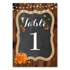 #wood - #Table Number Wedding Rustic Wood Fall Pumpkin Card