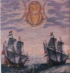 The illustration depicts a sighting by two Dutch ships in the North Sea of an object moving slowly in the sky. It appeared to be made by two disks of different size