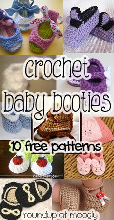 Crochet Baby Booties: 10 More Free Patterns! -- Last year I did a roundup of free crochet baby booties, and it was a big hit. But lately, I've gotten requests for more more more! Well there are so many cute patterns to choose from, how could I say no?