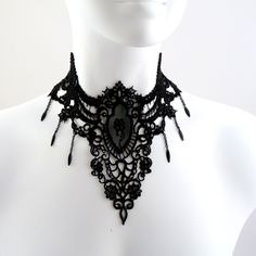 Gothic Large Black Lace Choker Necklace with Medallion, Rose Cameo, Chains & Spears - Fabric Jewelry for a Victorian Goth Darkness Queen. $36.00, via Etsy.