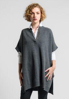 Brunello+Cucinelli+Embellished+Split+Neck+Oversize+Sweater+Vest+in+Grey
