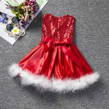 Fashion 2016 Toddler Girl Dress Sleeveless Sequin Pageant Red Christmas Party Dress For Little Princess Children Kids Clothing(China (Mainland))