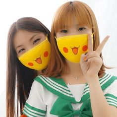 Price for 1 piece. Material: made of cotton Color: yellow So kawaii face dust mask, can't move eyes from the cutie! Mouth Mask Fashion, Fashion Mask, Diy Mask, Diy Face Mask, Crochet Projects, Sewing Projects, Cartoon Expression, 5 Min Crafts, Kawaii Faces