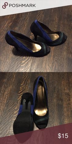Colorblock peep toe heel, 4 in These shoes have been worn once and are really great with a little black dress for flare! Peep toe is extremely comfortable and colors match a royal blue and forest green great fall colors too ! Shoes Heels